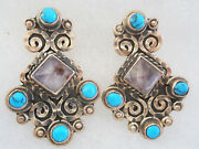 925 Sterling Silver Mexican Vintage Style Earrings With Blue Turqoise Stones