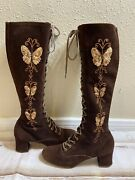 60s Lace Up Gogo Granny Boot Brown Suede Embroidered Butterfly Sz 8 Hippie Penny