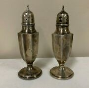 A Pair Of Antique Vintage Sterling Silver Salt And Pepper Shakers