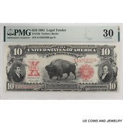 1901 10 Legal Tender Bison Note Pmg Vf 30 Fr. 120 - Nice Type Note