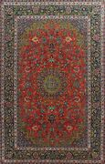 Vintage Floral Traditional Oriental Area Rug Evenly Low Pile Handmade Wool 9x13