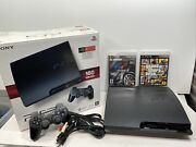 Sony Playstation 3 Ps3 Slim Console 160gb In Box Lightly Used With 2 Games