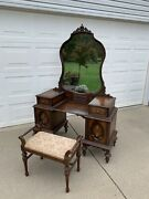 Detroit Michigan Antique Vanity Dressing Table With Mirror And Original Stool