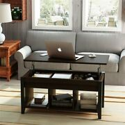 """Lift Top Coffee Table With Hidden Storage And Lower Shelf For Living Room 41.3""""l"""