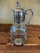 Vintage Silver Plated And Glass Coffee Tea Pitcher Carafe W/ Warmer Stand