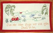Swedish Vintage Embroidered Wall Hanging Cottage By The Lake