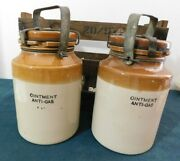 Vintage Anti Gas Stone Containers 2 In Original Crate 1943