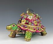 Jay Strongwater Ornament Mille Fiori Turtle Crystals Mint In Box