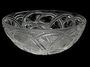 Signed Lalique Crystal Pinsons Finch Bowl 9 1/4 Diameter Lalique France Xlnt
