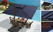 Double Top Deluxe Wood Pattern Rectangle Patio Umbrella 9and039 X 12and039 Navy Blue
