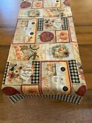 Fall Harvest.farmhouse Style Black Checked Table Runner 14 X 50 Inches