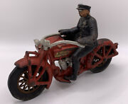 1930's Cast Hubley Indian Motorcycle And Sidecar And Driver Original - No Passenger