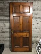 Antique Farmhouse Exterior Wood Entry Door /w 6 Panels And Hardwarestained 36x84