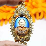 Enameled Buddhist Brooch Gems Thai Amulet Powerful Luck Good Business For Gift