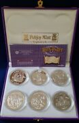2002 Harry Potter Isle Of Man Proof 1 Crown, .925 Sterling Silver, 6-coin Set