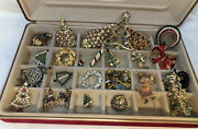 Vintage Christmas Rhinestone Brooches And Earrings - Christmas Bling