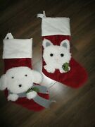 Set 2 New Pottery Barn Kids Red Luxe Velvet Puppy Dog And Cat Christmas Stockings