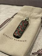 David Yurman Forged Carbon Tag/pendant With Sterling And Leather Bracelet