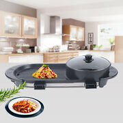 2 In 1 Indoor Bbq Portable Electric Grill Griddle Non Stick Barbecue Cooking Us