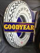 Good Year Tyre Flag Tyre Cutout Double Sided Vintage Porcelain Enamel Sign Board
