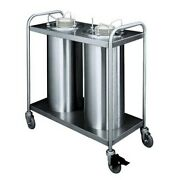 Apw Wyott Htl2-12a Trendline Mobile Two Stack Heated Adjustable Dish Dispenser