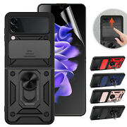 For Samsung Galaxy Z Flip 3 5g Case Ring Stand Hybrid Covertpu Screen Protector