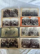 Vintage Stereograph Cards Lot Of 65 Military-parks-white House-children-travel