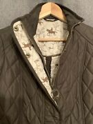 Barbour Ladies Quilted Brown Horse Print Cavalry Lined Emily Bond Jacket