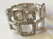 Sterling Silver '925' And Clear Cz Stone Square Geometric Ring Band 5.56g Size M