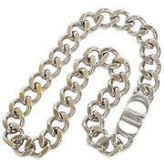 Christian Dior Icon Chain Link Necklace N1097hommt Silver Brass Men 45cm 17.71