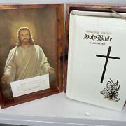 Vtg The Holy Bible Memorial Edt Concordance Cedar Wood Box Steel Worker Union