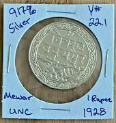 India 1928 1985 Silver Princely State Of Mewar 1 Rupee Unc