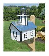 Amish Mailbox With Solar Lighthouse - Handmade - Poly Lumber- Weather Resistant