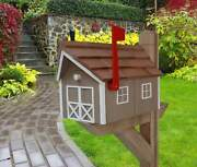 Amish Mailbox - Handmade - Wooden - Clay - Barn Style - With A Tall Prominent St