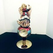 New Polish Glass Christmas Tree Topper Angel Playing Harp With Stand 12.5andrdquo Read
