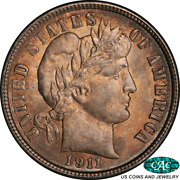 1911-s Barber Dime Pcgs Ms66+ Cac - Nice Original, Lustrous Coin