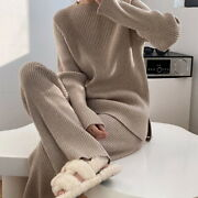 Women's Thicken Warm Knitted Pullover Sweater Two-piece Suits Wide Leg Pants Set