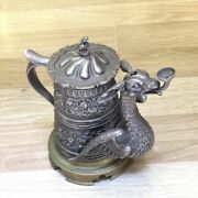 Antique Bronze And Silver Plated Beer Mug And Figure Dragon In Its Mouth Oil Lamp