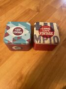 Fossil Long Live Vintage Tins 2 Small Gift Box Lot Empty 2010