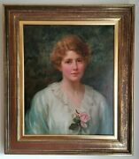 British School Edwardian Portrait Of A Lady Large Antique Signed Oil Painting