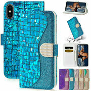 For Iphone 13 Pro Max X/xr 5s 6s 8 7 Plus Xs Max Bling Leather Wallet Flip Case