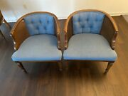 Vtg Mid Century Pair Caned Barrel Club Chairs Tufted Fabric Mcm 60's/70's