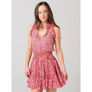 Poupette St Barth Womenand039s Triny Ruffled Mini Dress In Pink Glory - Extra Small