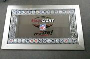 Vintage Coors Light Nfl It's On Mirrored Beer Sign 45x28 W/all 32 Nfl Helmets