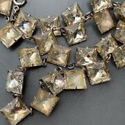 Vtg Art Deco Sterling Silver Closed Back Faceted Crystal Paste Riviera Necklace