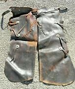 Vintage Antique Western Cowboy Ranch Hand Used Leather Chaps W Pockets