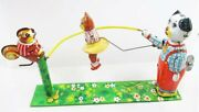 Tin Toys Japan Tps Jump Rope Animals Dog And Cat Squirrel Figure Robot Wind-up