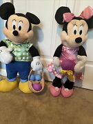 Disney Plush Mickey And Minnie Mouse, Large 25-26 Inches Tall Each