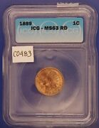 1889 Indian Head Copper Penny, Icg Ms63 Rd, Gem Uncirculated, C483