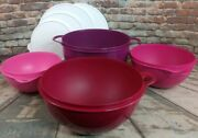 Tupperware New Thatsa Mixing Bowls 4-piece Set In 42, 32, 19, 12 Cups White Lids